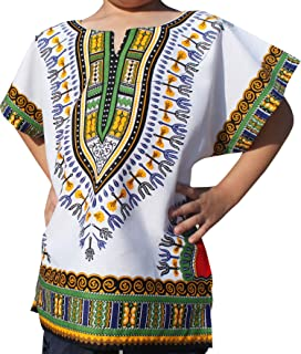 Raan Pah Muang RaanPahMuang Unisex Bright African White Children Dashiki Cotton Shirt