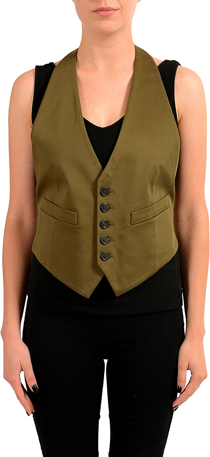 DSQUARED2 Women's Olive Green Button Up Open Back Vest US XS IT 38