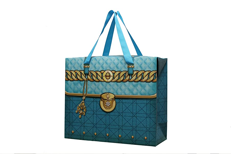 Set of 12 Womens Large Aqua Blue Treasure Chest Paper Gift Bags for Party Favors