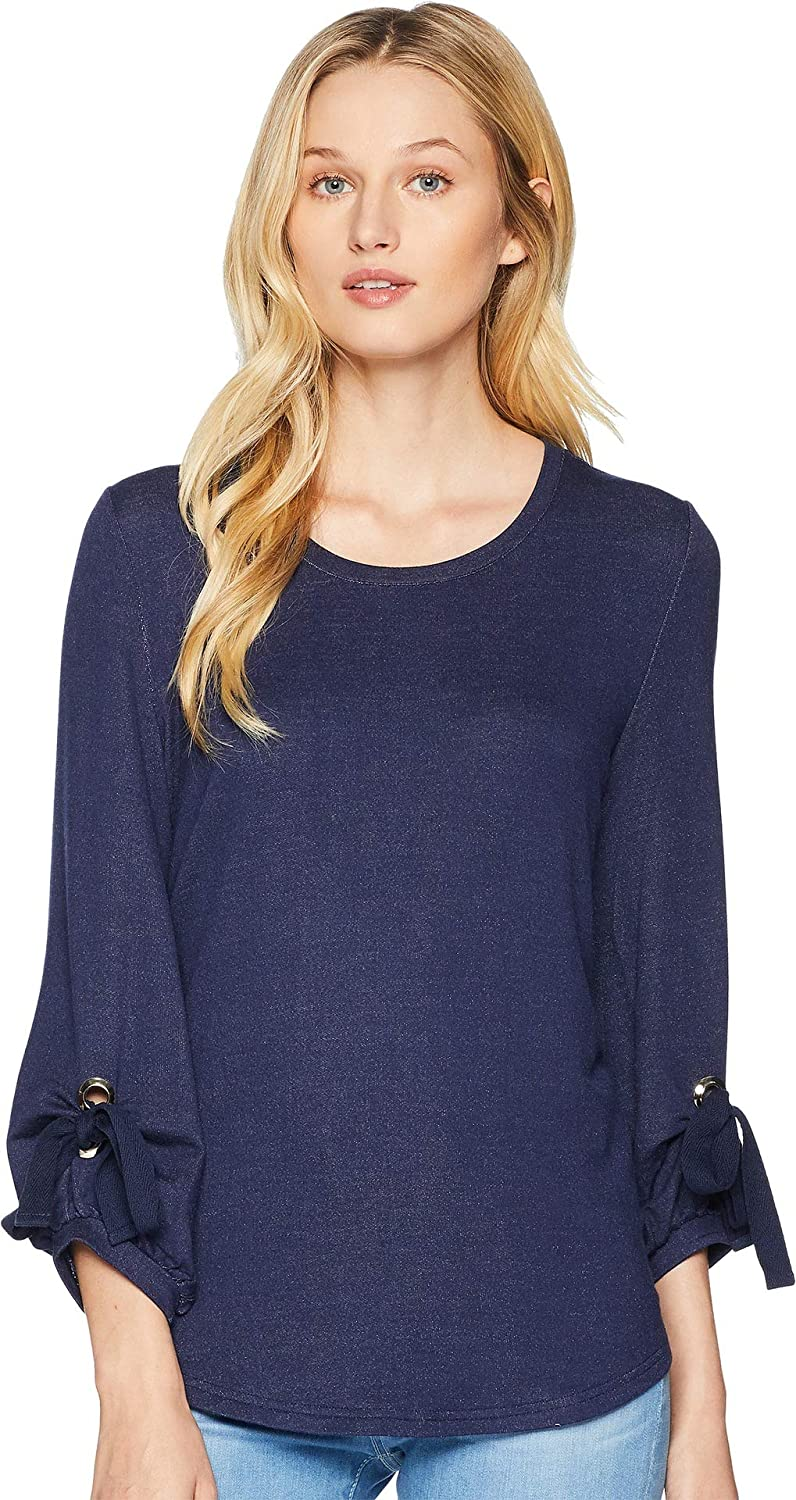 Tribal Womens Crew Neck Top with Puffy Sleeve