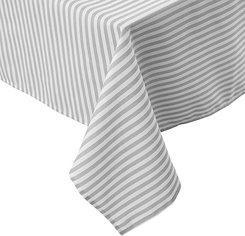 Deconovo Tablecloths Stripe Pattern Premium Water Resistant Spill Resistant Table Cloth Recycled Polyester Cloth Tablecloth 54x54 Inch White And Light Grey