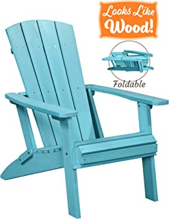 PolyTEAK Modern Oversized Folding Poly Adirondack Chair, Turquoise Blue | Adult-Size, Weather Resistant, Made from Plastic