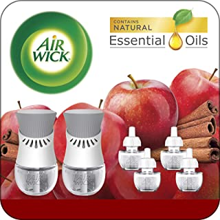 Air Wick Plug in Scented Oil Starter Kit, 2 Warmers + 6 Refills, Apple Cinnamon, Fall..