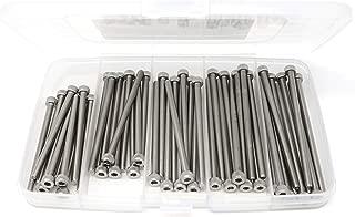 iExcell 50 Pcs M4 x 60mm/65mm/70mm/75mm/80mm Stainless Steel 304 Hex Socket Head Cap Screws Kit, Fully Threaded