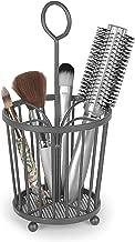 Takyl Home Metal Beauty Bathroom & Cosmetic Vanity Organizer Caddy & Accessory Storage Tote for Makeup, Blush, Eyeshadow, Bronzer, Brushes, Hair Care, Teasing Brush & Comb Holder, Dark Gray