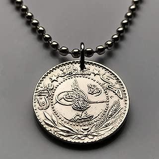 1912 Turkey 20 Para coin pendant Turkish Tughra Istanbul Ottoman empire Turkic Anatolia sultan Islamic Arabic calligraphy necklace n000882
