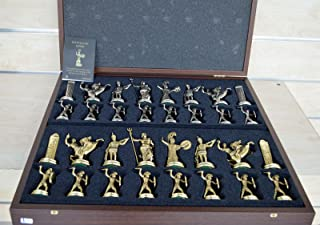 Greek Mythology X-Large Chess Set - Gold-Silver - Blue Chess Board