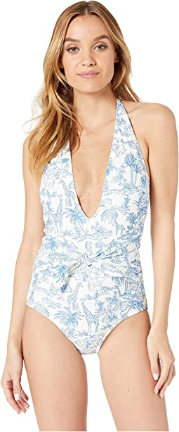 Printed Tie-Front One-Piece