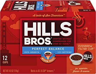 Hills Bros Coffee, Perfect Balance Medium Roast, Single Serve Coffee Cups, 12 Count (Pack of 6)