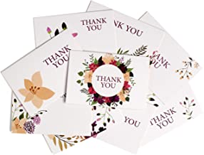 Thank you cards,45 Bulk Floral Flower Thank you Notes with Heavy-Weight Envelopes, Luxury Ballpoint Pen & 120 Message ideas,9 Design 4 x 6-Inch Blank for Bridal Shower, Wedding, Baby Shower & Business