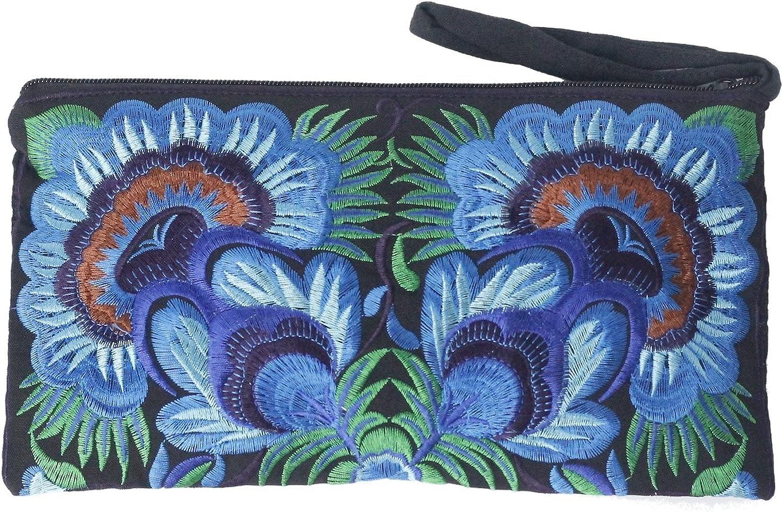 Sabai Jai  Floral Embroidered Boho Clutch  Handmade Ethnic Flower Wristlet Purse