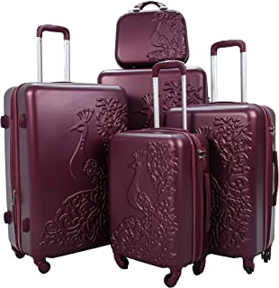 Luggage Trolley Set, 5 Pcs -Burgundy