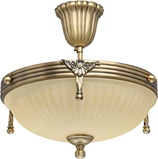 Lámpara de techo de diseño clásico de metal, color latón, Cristal, 3bombillas, 32cm de diámetro, solo E143 de 60W 230V