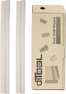 """deeToolMan Door Draft Stopper 36"""" - Light Beige(Set of 2) : One Sided Door Insulator with Hook and Loop Self Adhesive Tape Seal Fits to Bottom of Door"""