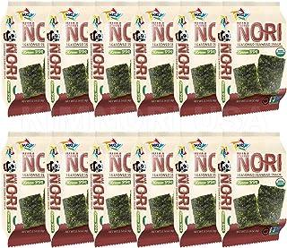 Organic Kimnori Seasoned Roasted Seaweed Snacks - 4g X 12 Pack Net 1.69 oz (48g) Kim Nori - 12 Individual Packs Korean BBQ 12 Pack
