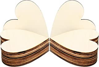 Frienda 3.15 Inch Wood Hearts Slices Wooden Discs Heart Shaped Embellishment for Wedding, Decor Arts Crafts DIY, 50 Pieces (3.15 inch)