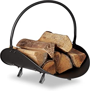 Relaxdays Firewood Basket, Large Fireplace Wood Cradle, Metal Log Holder, H x W x D 40 x 38 x 48 cm, Black