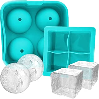 Kitchen Details Set of Large 2.5 Inch Ice Sphere Mold and Large 2 inch Square Ice Cube Mold Tray Made From Silicone BPA Free (BLUE)