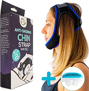 Anti Snoring Chin Strap Devices - Stop Snoring Head Mouth Straps Adjustable Belt Jaw Support Effective Sleep Aid Solution and Anti-Snoring Breathable Nose Vents Plugs Air Purifier for Men and Women