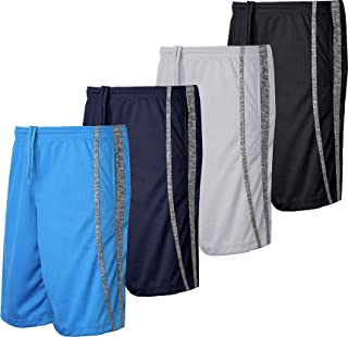 4 Pack- Men's Active Shorts Quick-Dry Lightweight Workout Gym Basketball with Pockets