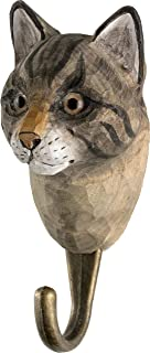 WILDLIFEGARDEN Hand-Carved Cat Hook, Sturdy Indoor/Outdoor Wood Wall Hook with Artisanal Life-Like Figurine, Easy-to-Install, Designed in Sweden