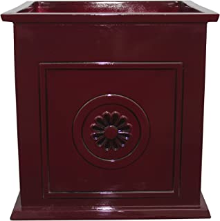 "Southern Patio 16"" Colony Square Planter, Oxblood Red"