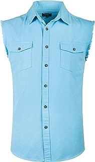 NUTEXROL Men's Sleeveless Denim Shirt Biker Vest 2 Front Pockets
