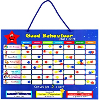 Chore Chart for Kids - Good Behavior Star Chart - Strong Magnetic Dry Erase Reward Chart Board Idea for One or Multiple Kids -Toddler Chore Chart - Responsibility Chart - for Wall or Refrigerator