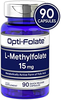 L Methylfolate 15mg | 90 Capsules | Max Potency | Optimized and Activated | Non-GMO, Gluten Free | Methyl Folate, 5-MTHF | by Opti-Folate