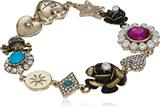 Betsey Johnson Mystic Baroque Queens Multi-Charm Gold Link Bracelet