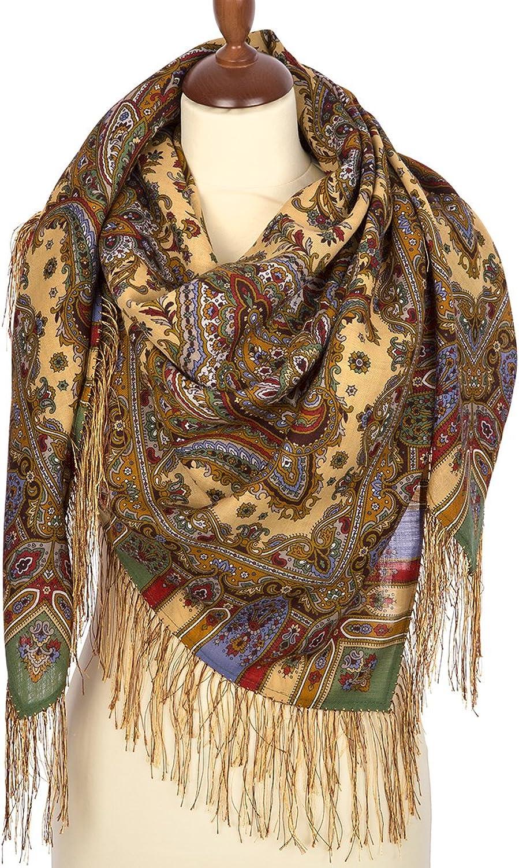 Pavlovo Posad Russian Shawl 100% Wool 125x125 cm Scarf Silk Tassels 168352