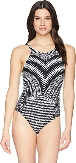 93fe28c3e7502 La Blanca. Running Stitch Over the Shoulder Mio One-Piece Swimsuit.  $37.50MSRP: $125.00. Black/White