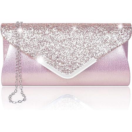 Larcenciel Damen Clutch Abendtasche Unterarmtasche Umhängetasche mit Strass-Steinen und Abnehmbarer Kette in den Farben Silber Gold Altrosa (rose)