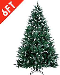 Amzdeal Christmas Tree, Artificial Christmas Tree with Snow Tips Sturdy Metal Stand Easy Assembly Fir Xmas Tree (6ft)