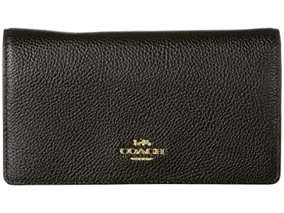 COACH Polished Pebble Convertible Belt Bag (Black/Gold) Handbags