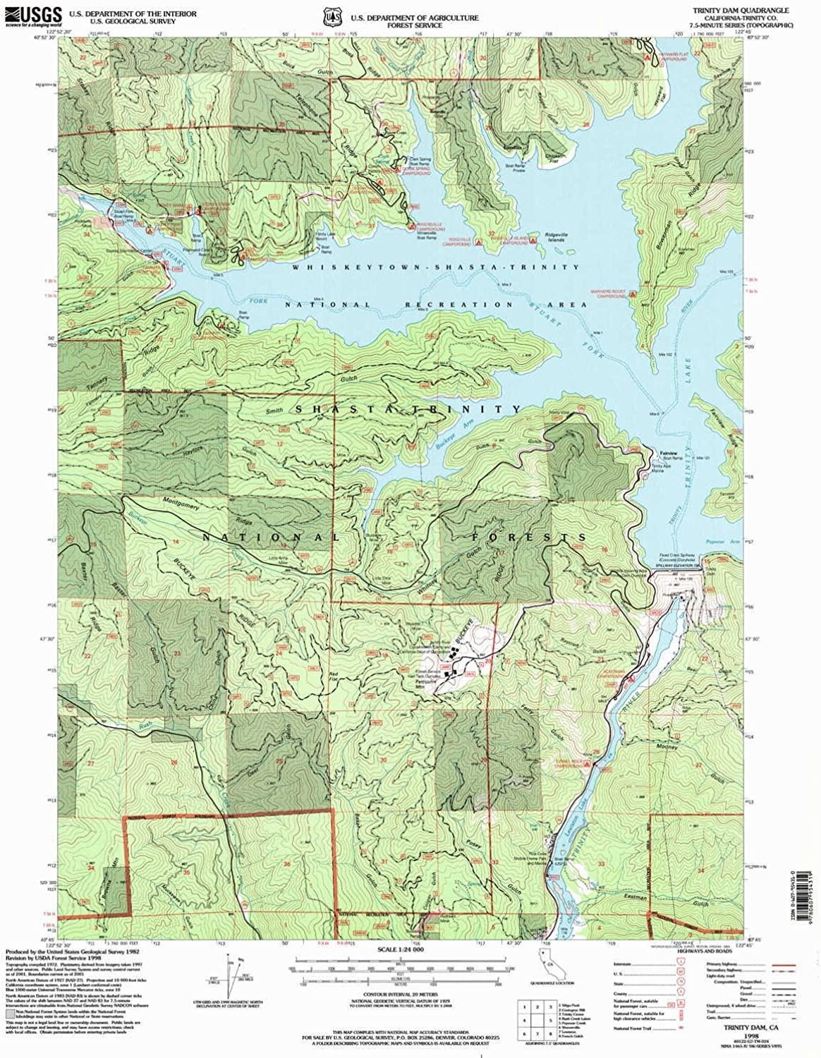 Trinity Dam CA topo map, 1 24000 Scale, 7.5 X 7.5 Minute, Historical, 1998, Updated 2003, 26.7 x 21.4 in