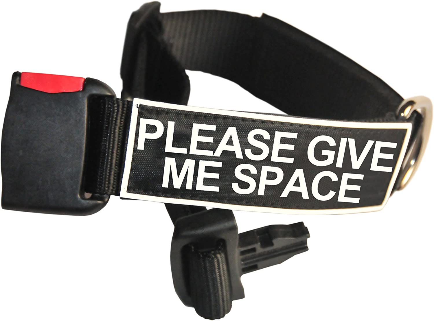 Dean and Tyler Patch Collar , Nylon Dog Collar with PLEASE GIVE ME SPACE Patches  Black  Size  Small  Fits Neck 18Inch to 21Inch