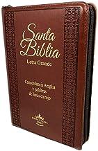Biblia Letra Grande Tamaño Manual con Cierre Imitacion Piel Marron con Concordancia e Index Reina Valera 1960