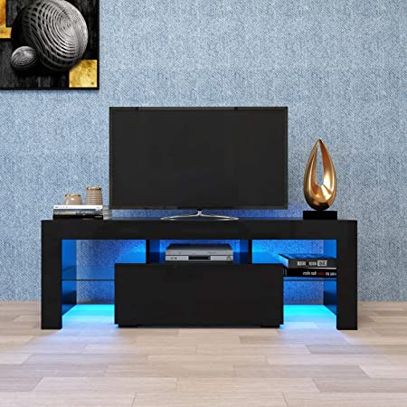 V-HOME Modern TV Stand with Led Light,TV Stand Cabinet for 55 inch TV,12 Color RGB Light with Remote Control,High Gloss TV Stand with Storage Drawers for Living Room, 51inch,Black