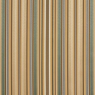 B0160F Green Light Blue and Gold Shiny Thin Striped Silk Satin Look Upholstery Fabric by The Yard