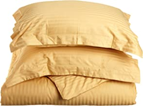 Superior 100% Premium Combed Cotton, Soft Single Ply Sateen, 2-Piece Duvet Cover Set, Stipe, Twin - Gold