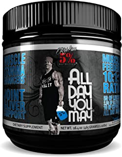 Rich Piana 5% Nutrition All Day You May BCAA & Joint Recovery Drink (Blue Raspberry) 17.2oz (465g) 30 Servings
