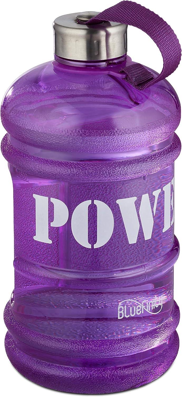 Bluefinity Botella de Agua Power para Deporte, Cantimplora XXL para Gimnasio, Libre de BPA y DEHP, 2 litros