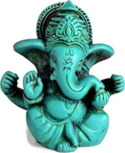 BUDDHAFIGUREN/Billy Held Ganesha Ganapati Ganesh Estatua de bálsamo de 6,5 cm de Color Turquesa