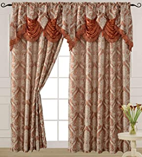 V Luxury Jacquard Curtain Panel with Attached Waterfall Valance, 54 by 84-Inch Ashley Brick