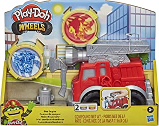 Play-Doh Wheels Fire Engine Playset with 2 Non-Toxic Modelling Compound Pots Including Water and Fire Colours, Fire Engine...
