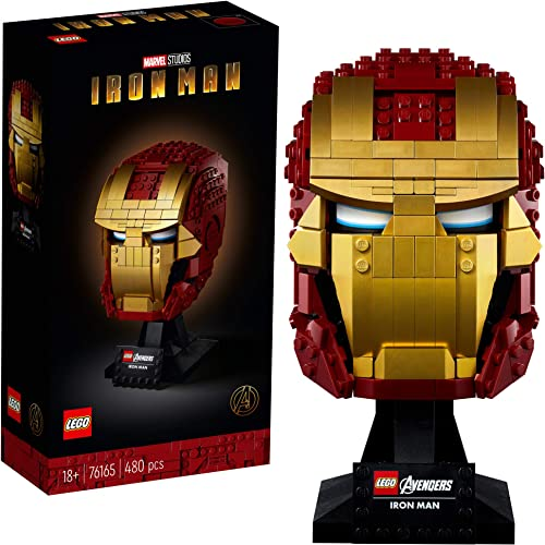 LEGO Marvel Avengers Iron Man Helmet 76165; Brick Iron Man-Mask for-Adults to Build and Display Creative Challenge for Marvel Fans (480 Pieces)