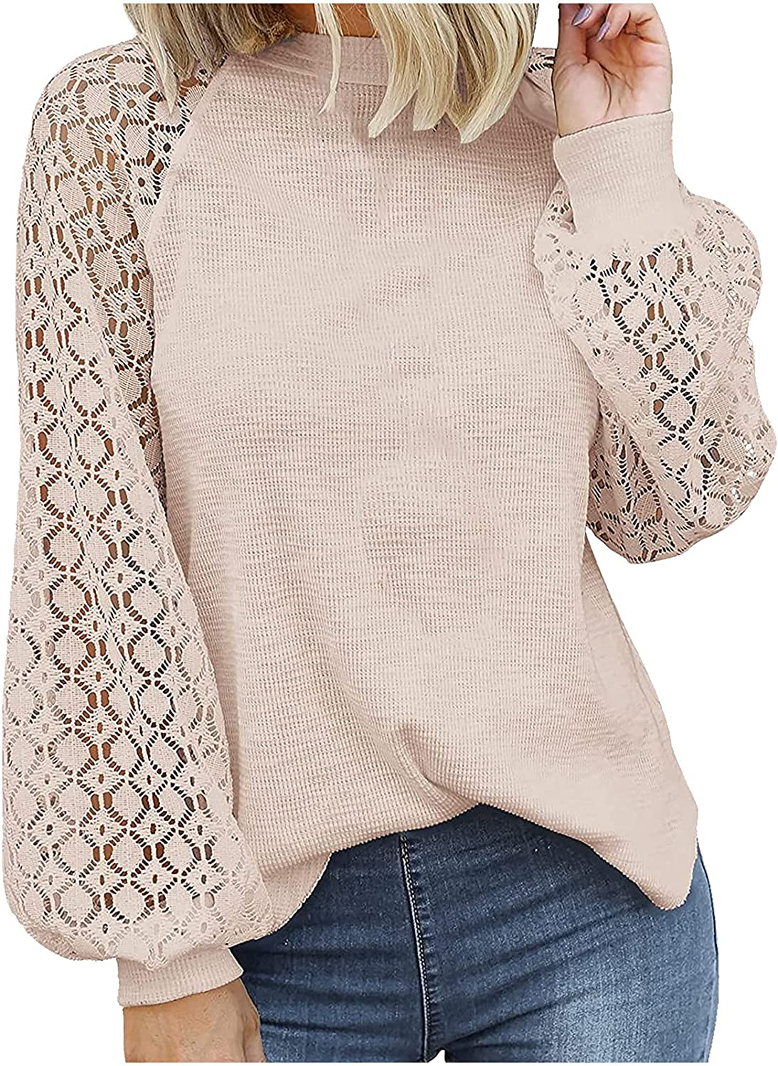 Women Summer Tops Women's O-Neck Long-Sleeved Lace Stitching Loose Tops Solid Sweatershirt