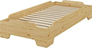 Erst-Holz Lit Simple empilable, pin Massif Naturel 80x190 dans Une Forme compacte avec sommier 60.56-08-190