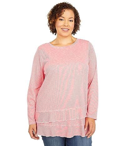 Mod-o-doc Plus Size Slub Jersey Asymmetrical Long Sleeve Flounce Hem Tee (Coral) Women